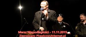 prof. Jan Żaryn – przemówienie na Marszu Niepodległości 2015