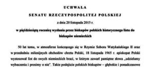 Senat upamiętnił list biskupów polskich do niemieckich. Pomysłodawcą uchwały jest prof. Jan Żaryn