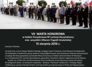 VII WARTA HONOROWA w hołdzie Prezydentowi RP Lechowi Kaczyńskiemu oraz wszystkim Ofiarom Tragedii Smoleńskiej