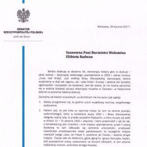 List otwarty skierowany do Pani Burmistrz Wołomina Elżbiety Radwan w sprawie Muzeum Bitwy Warszawskiej