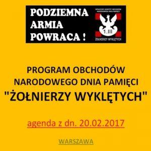 Agenda obchodów Narodowego Dnia Pamięci Żołnierzy Wyklętych 2017