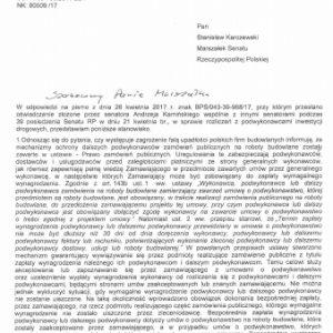 Oświadczenie złożone przez senatora Jana Żaryna na 39. posiedzeniu Senatu w dniu 21 kwietnia 2017 r. skierowane do ministra Adamczyka w sprawie polskich firm budowlanych i odpowiedź ministerstwa