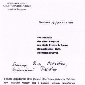 List od marszałka S. Karczewskiego odczytany przez senatora prof. Jana Żaryna z okazji Narodowego Dnia Pamięci Ludobójstwa na Kresach