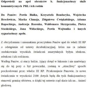 Odpowiedź na apel obrońców b. funkcjonariuszy służb komunistycznych PRL i ich rodzin
