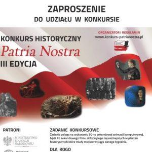Informacja o konkursie historycznym Patria Nostra