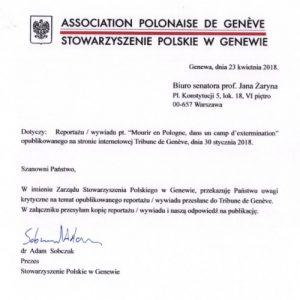 Reakcja na artykuł w Tribune de Geneve