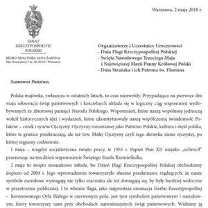 List senatora RP prof. Jana Żaryna z okazji Dnia Flagi, Święta Narodowego Trzeciego Maja i NMP Królowej Polski oraz Dnia Strażaka