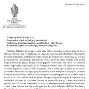 List senatora prof. Jana Żaryna z okazji odsłonięcia pomnika ku czci św. Jana Pawła II i Sługi Bożego kard. S. Wyszyńskiego, Prymasa Tysiąclecia