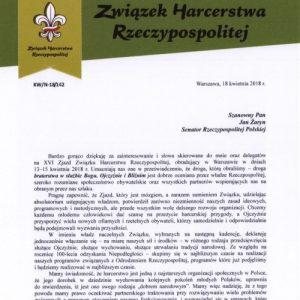 Podziękowanie za list na XVI zjazd ZHR