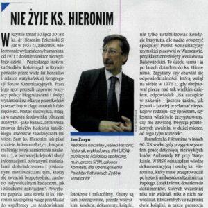 Nie żyje ks. Hieronim