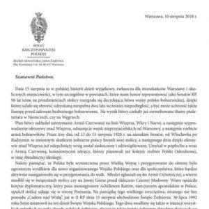 List Senatora RP prof. Jana Żaryna z okazji Święta Wniebowzięcia NMP i Wojska Polskiego