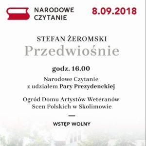 """NARODOWE CZYTANIE – """"Przedwiośnie"""" Stefana Żeromskiego. Patronat Honorowy pary prezydenckiej."""