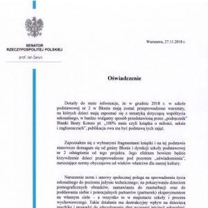 """Oświadczenie Senatora RP prof. Jana Żaryna ws. """"warsztatów"""" w SP nr 2 w Błoniu"""