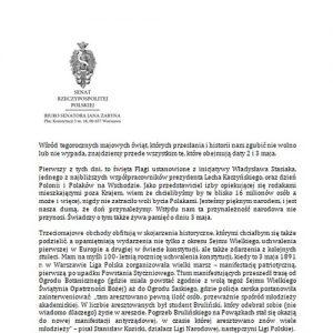 List senatora RP prof. Jana Żaryna z okazji Święta Flagi Rzeczypospolitej Polskiej i Święta Narodowego Trzeciego Maja