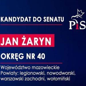 Profesor Jan Żaryn kandydatem do Senatu RP z okręgu numer 40 (powiaty: legionowski, nowodworski, wołomiński i warszawsko-zachodni)