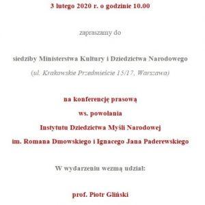 Konferencja prasowa w sprawie powołania Instytutu Myśli Narodowej im. Romana Dmowskiego i Ignacego Jana Paderewskiego