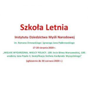 Szkoła Letnia w Jabłonnie pod Warszawą organizowana przez Instytut Dziedzictwa Myśli Narodowej