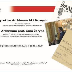 Bogata kolekcja dokumentacyjna prof. Jana Żaryna, obejmująca ponad 30 lat jego aktywności naukowej, popularyzatorskiej, społecznej i politycznej została przekazana do AAN, gdzie będzie udostępniana po jej opracowaniu